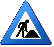 Construction road sign